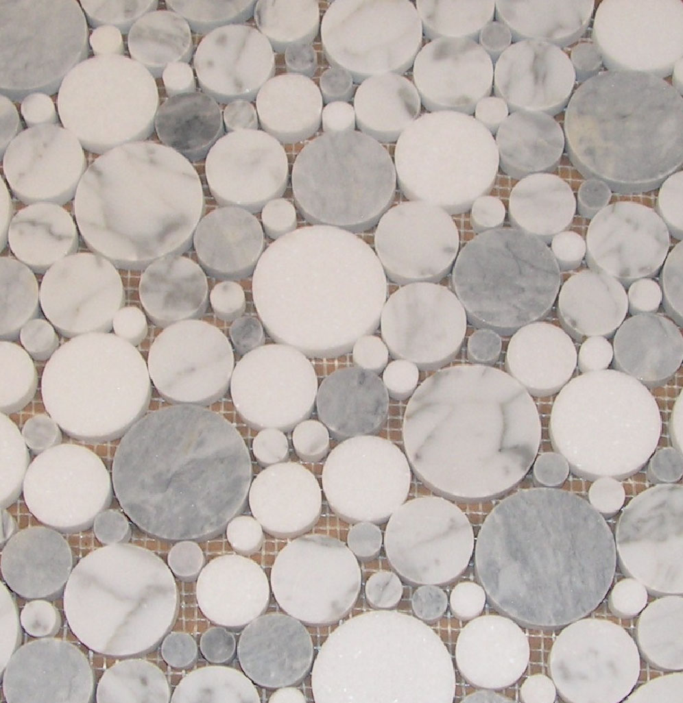 Beltile Carrara Marble And Grey Smoke With Thassos Bubble