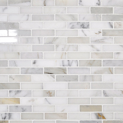 Beltile Calacatta Mini Brick Mosaic Polished 5 8 X 2