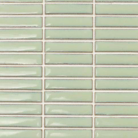 Beltile Light Green Stacked Rectangles Glazed Porcelain