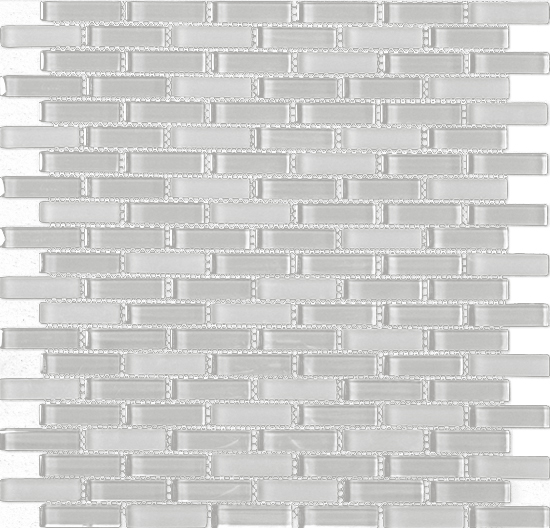 Beltile Athens Light Grey Glass Brick Mosaic 6 X 1 9 In