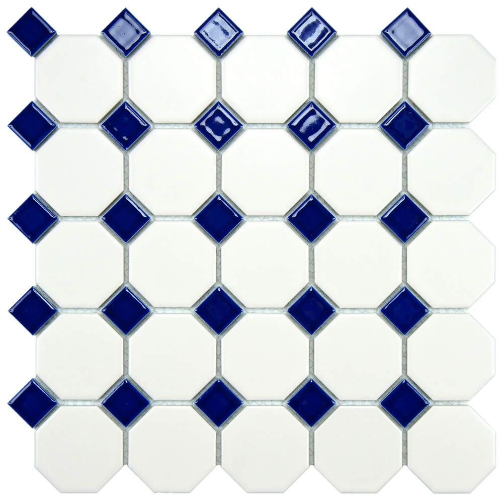 Beltile Metro Matte White Octagon And Dot With Cobalt Blue