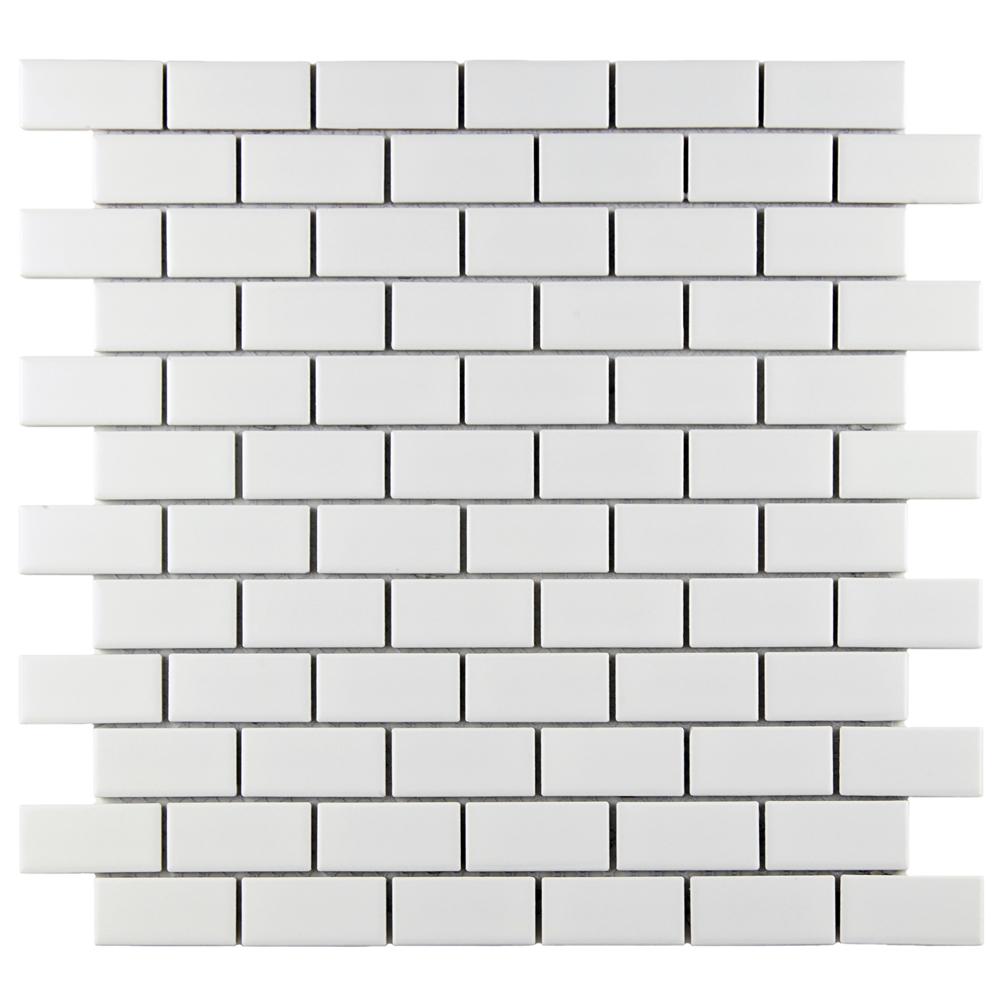 Beltile Retro Glossy White Brick Porcelain Mosaic 1x2