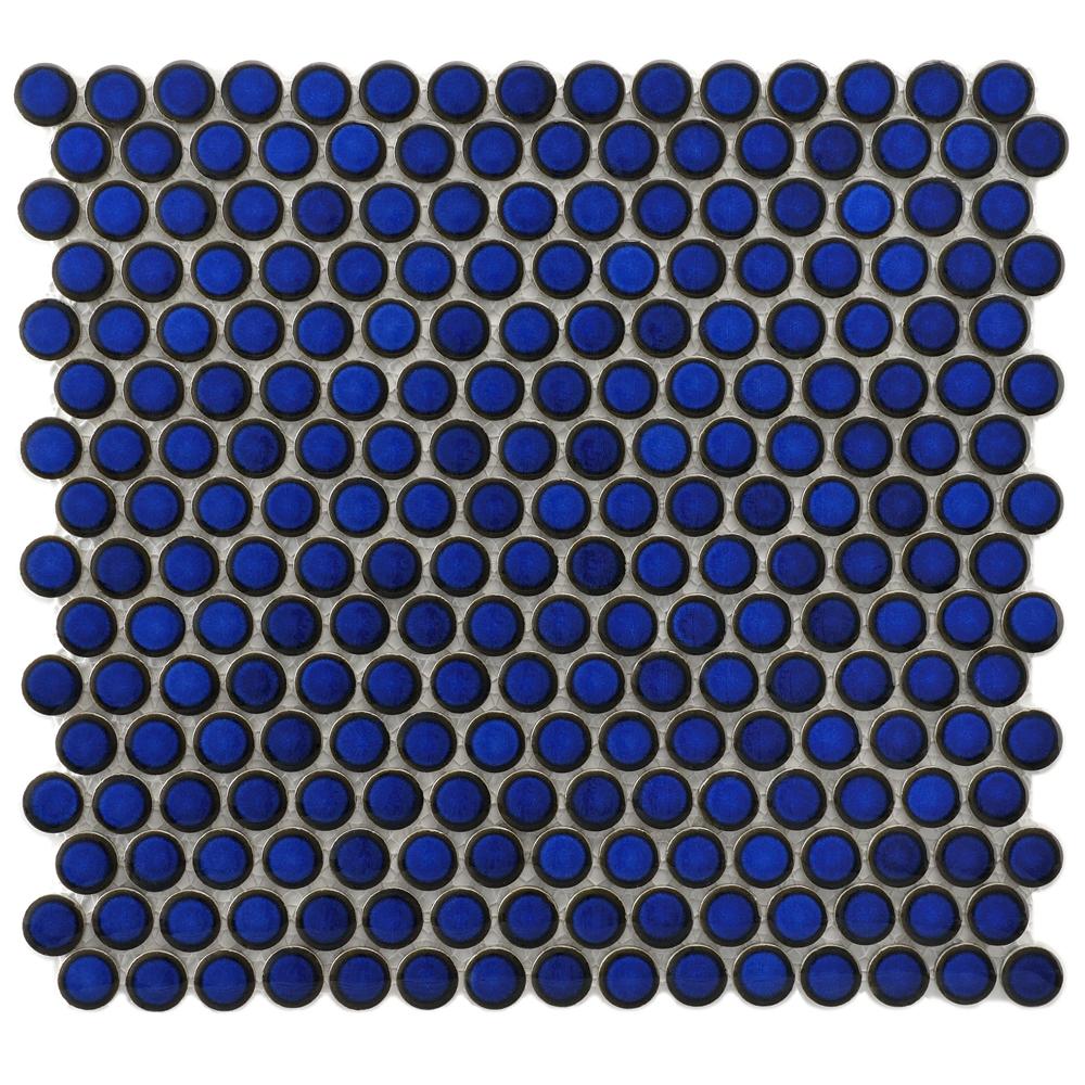 Beltile Mystic Penny Round Cobalt Blue 3 4 Porcelain