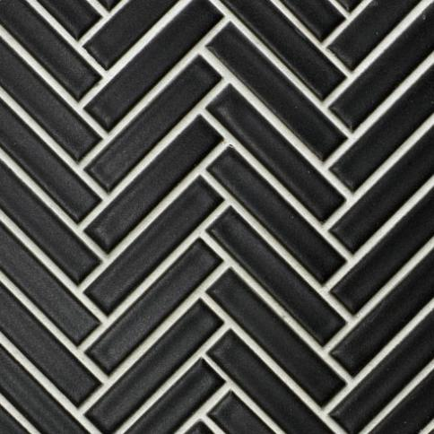 Beltile Matte Black Mini Herringbone Glazed Porcelain